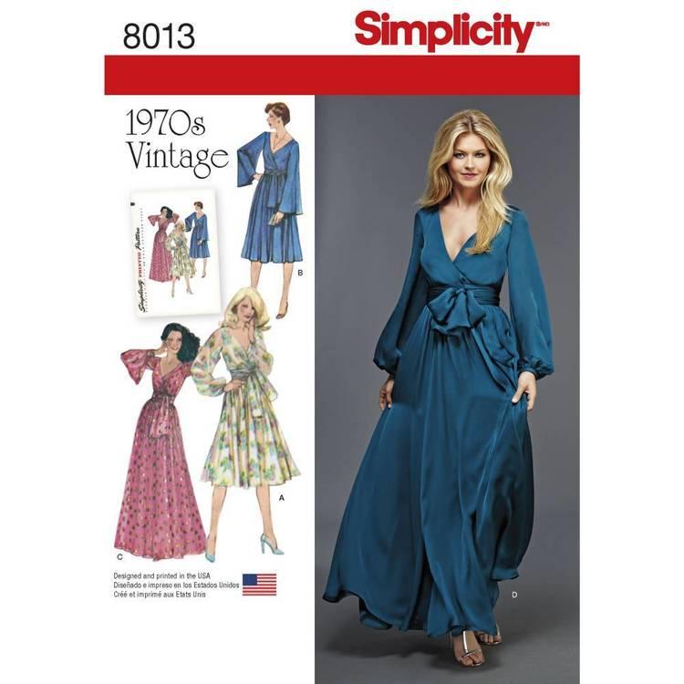 Simplicity Pattern 8013 Misses' Vintage 1970's Dresses'