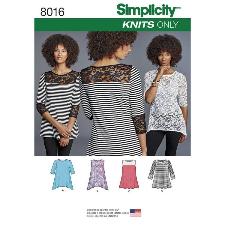 Simplicity Pattern 8016 Misses' Knit Tops With Lace Variations