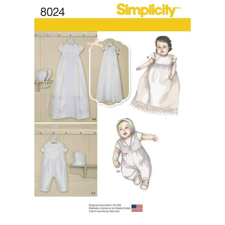 Simplicity Pattern 8024 Babies' Christening Sets With Bonnets