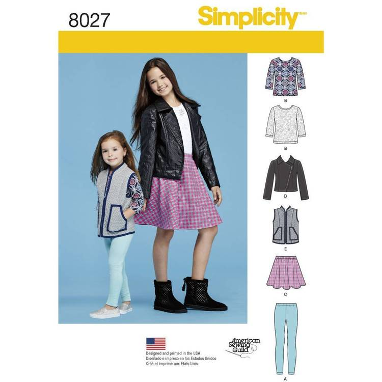 Simplicity Pattern 8027 Child's & Girls' Sportswear