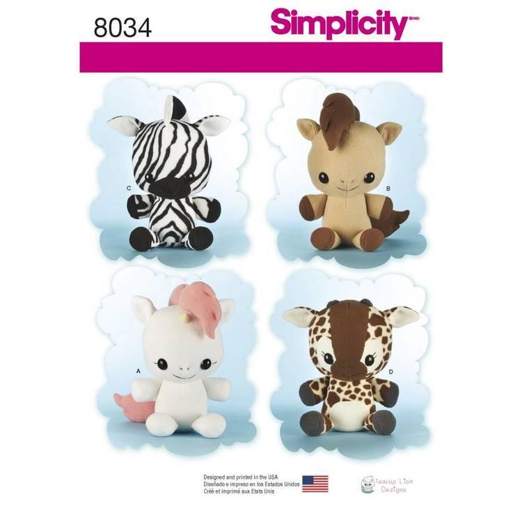 Simplicity Pattern 8034 Animal Stuffies