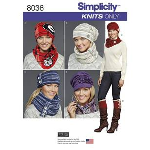 Simplicity Pattern 8036 Misses' Cold Weather Accessories