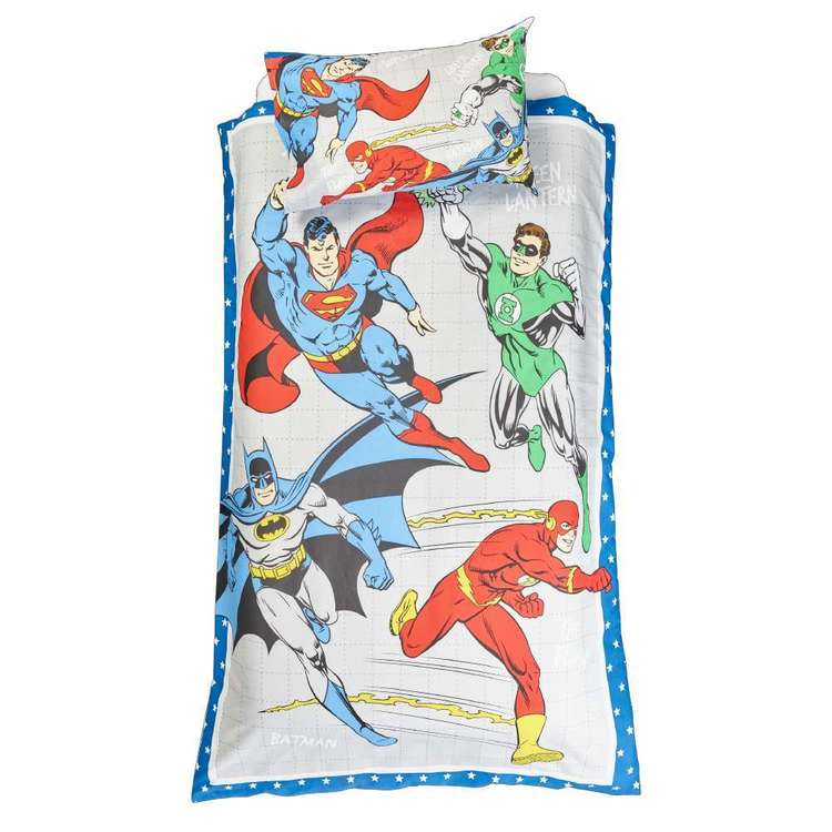 Justice League Quilt Cover Set Multicoloured