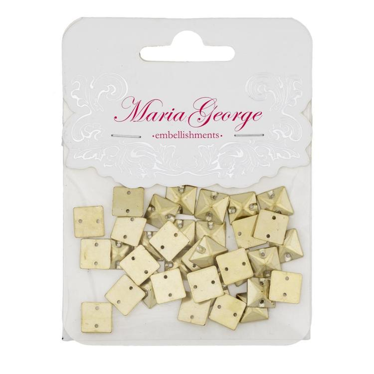Maria George Square Metal Pyramid 35 Pieces Gold 10 mm