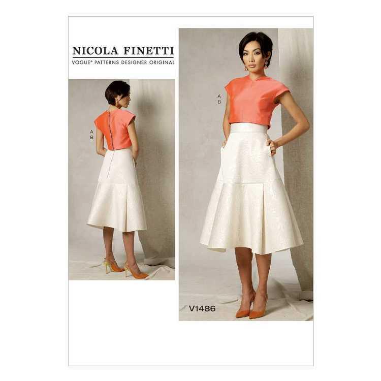 Vogue Pattern V1486 Misses' Crop Top & Flared Yoke Skirt