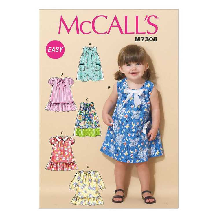 McCall's Pattern M7308 Toddlers' Tent Dresses 1 - 4