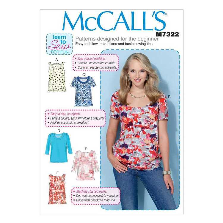 McCall's Pattern M7322 Misses' Pullover Tops