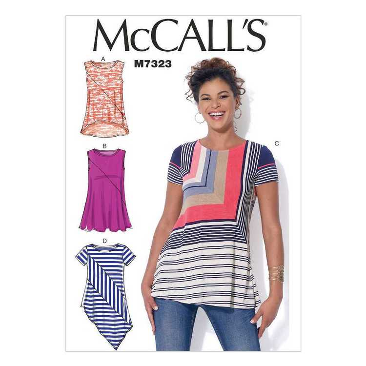 McCall's Pattern M7323 Misses' Asymmetrical Seam Detail Tops