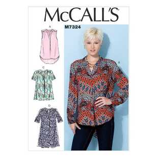 McCall's Pattern M7324 Misses' Half Placket Tops & Tunic