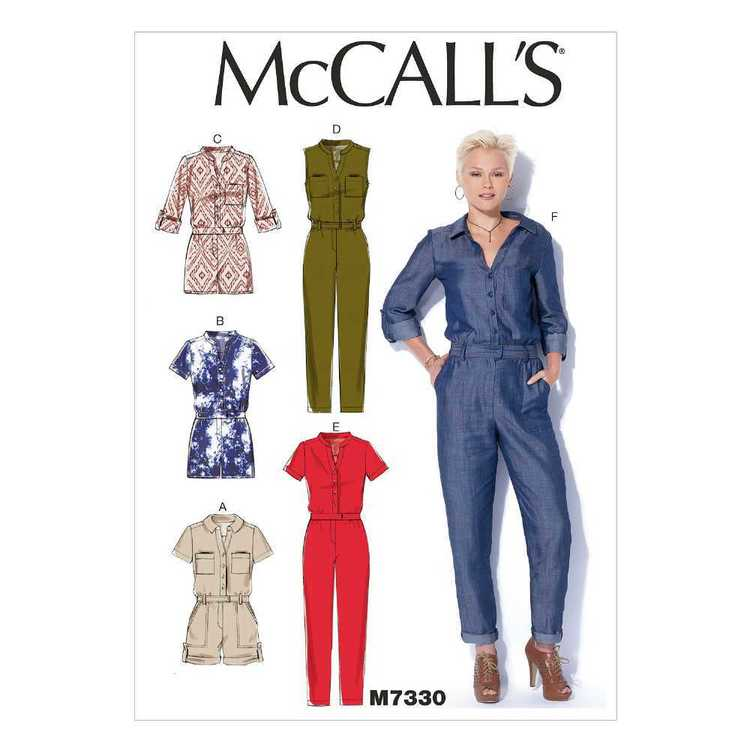 McCall's Pattern M7330 Misses' Button-Up Rompers & Jumpsuits