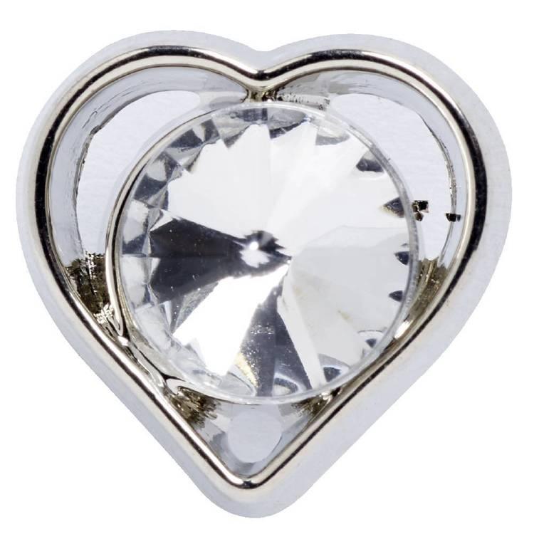 Hemline Edge Heart With Diamante Button