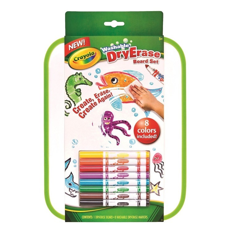 Crayola Dry Erase Board With 8 Washable Markers Multicoloured