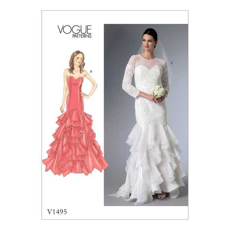 Vogue Pattern V1495 Misses' & Misses' Petite Sweetheart-Neckline Gowns With Flounces