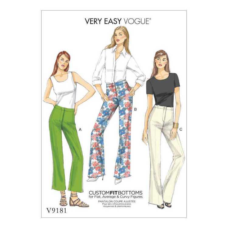 Vogue Pattern V9181 Misses' Custom-Fit Boot cut Pants