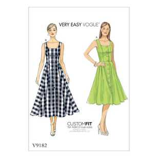 Vogue Pattern V9182 Misses' Button-Down Flared-Skirt Dresses
