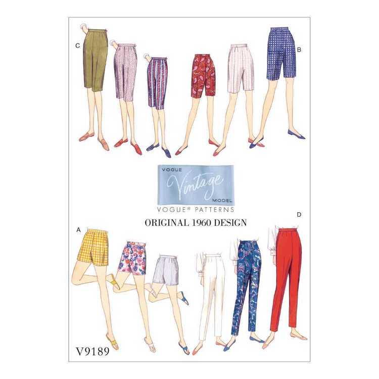 Vogue Pattern V9189 Misses' Shorts & Tapered Pants