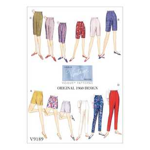 Vogue Pattern V9189 Misses' Shorts & Tapered Pants