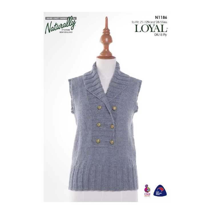 Naturally Loyal 8 Ply Ladies Vest N1186 Pattern Book White