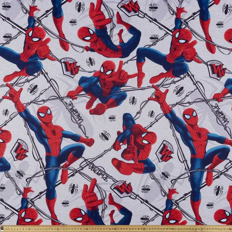 Spider-Man Web Warrior Triple Weave Fabric Grey 150 cm