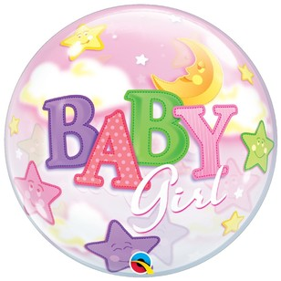 Qualatex Bubble Baby Girl Moon And Stars Foil Balloon
