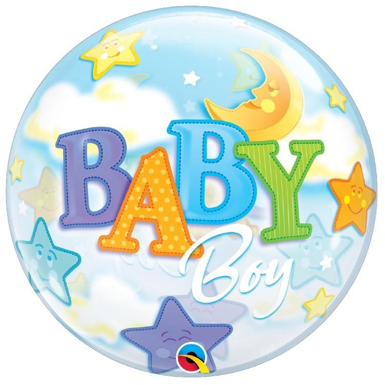 Qualatex Bubble Baby Boy Moon And Stars Foil Balloon