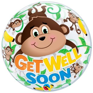 Qualatex Bubble Get Well Monkeys Foil Balloon