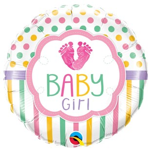 Qualatex Baby Girl Baby Lo Feet Foil Balloon