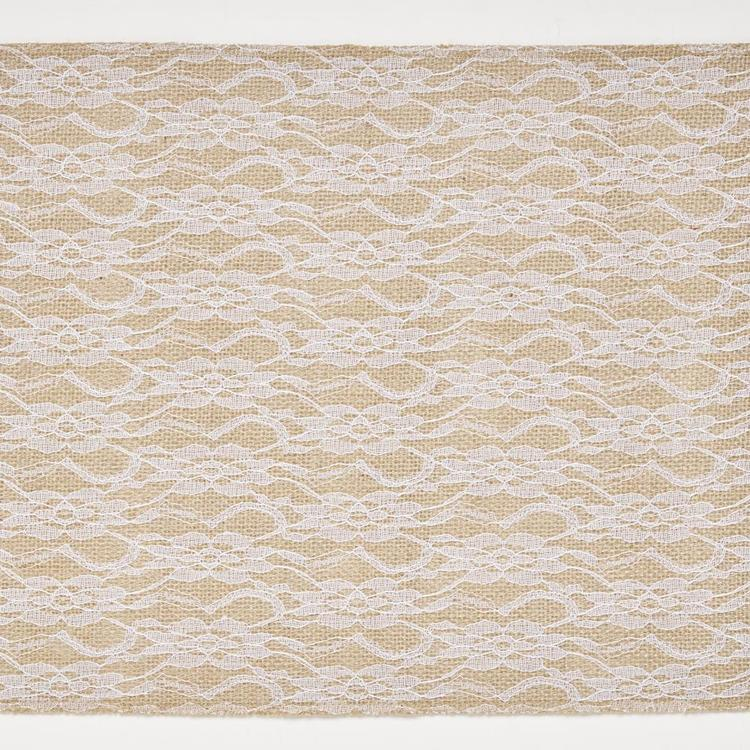 Shamrock Craft Naturals Burlap Table Runners With Allover Lace