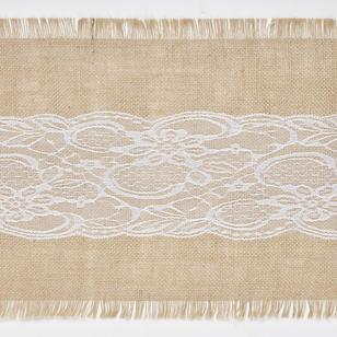 Shamrock Craft Naturals Burlap Table Runners With Middle Lace