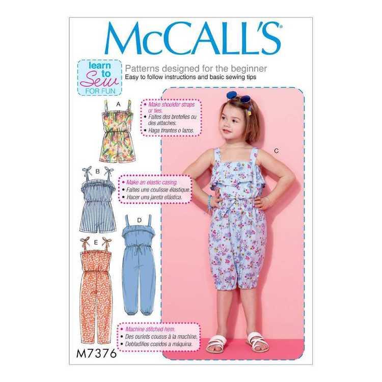 McCall's Pattern M7376 Children's & Girls' Blouson Rompers & Jumpsuits