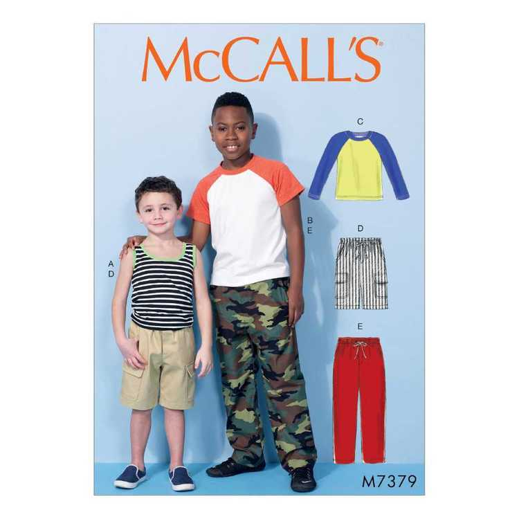 McCall's Pattern M7379 Children's/Boys' Raglan Sleeve Tops