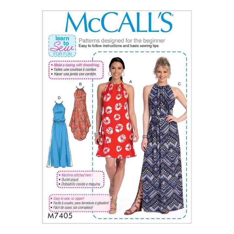 McCall's Pattern M7405 Misses' Gathered-Neckline Dresses