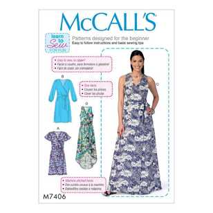 McCall's Pattern M7406 Misses' Wrap Dresses & Belt