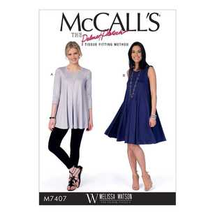 McCall's Pattern M7407 Misses' Flared Knit Top & Dress