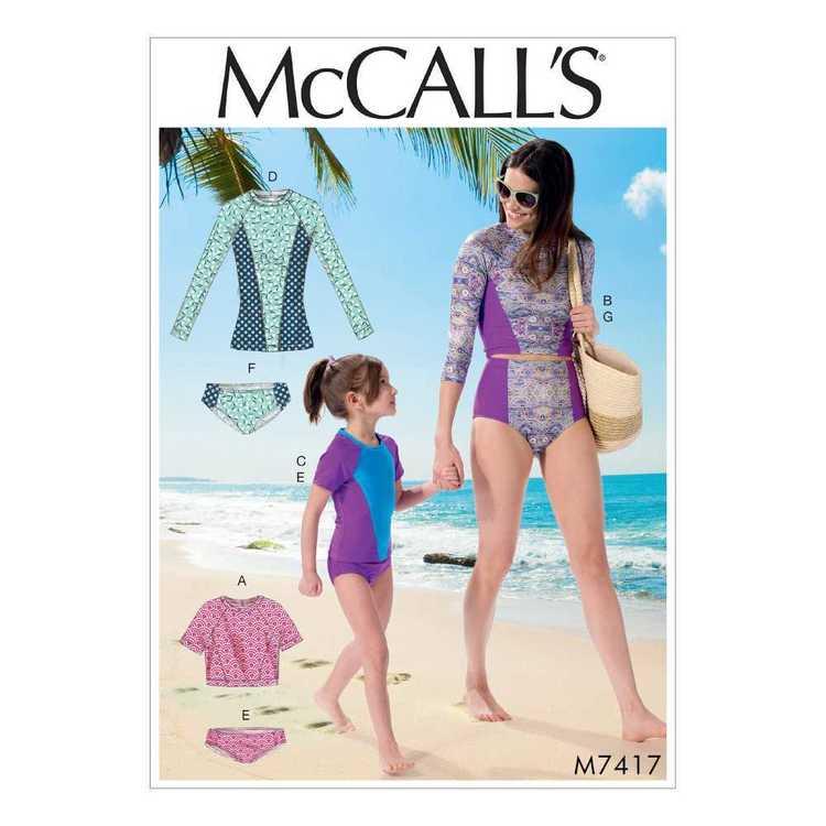 McCall's Pattern M7417 Misses' & Girls' Raglan Sleeve Rash Guards & Bikini Bottoms