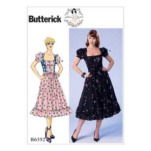 Butterick B6352 Misses' & Misses' Petite Square-Neck, Zip-Front, Ruffled Dresses & Belt