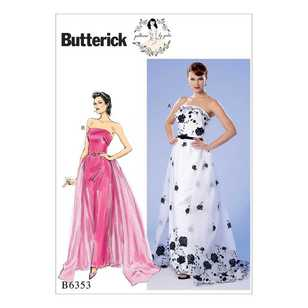 Butterick B6353 Misses' Strapless Dress, Detachable Train & Belt