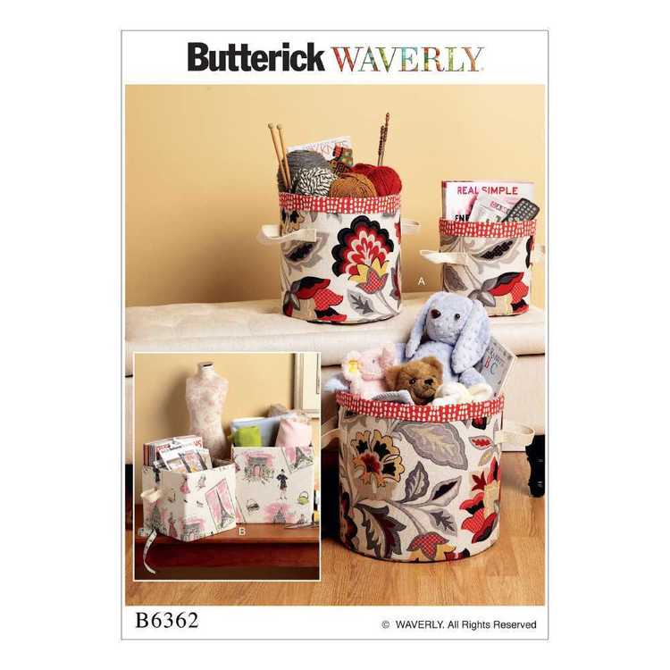Butterick Pattern B6362 Cylindrical & Rectangular Storage Bins