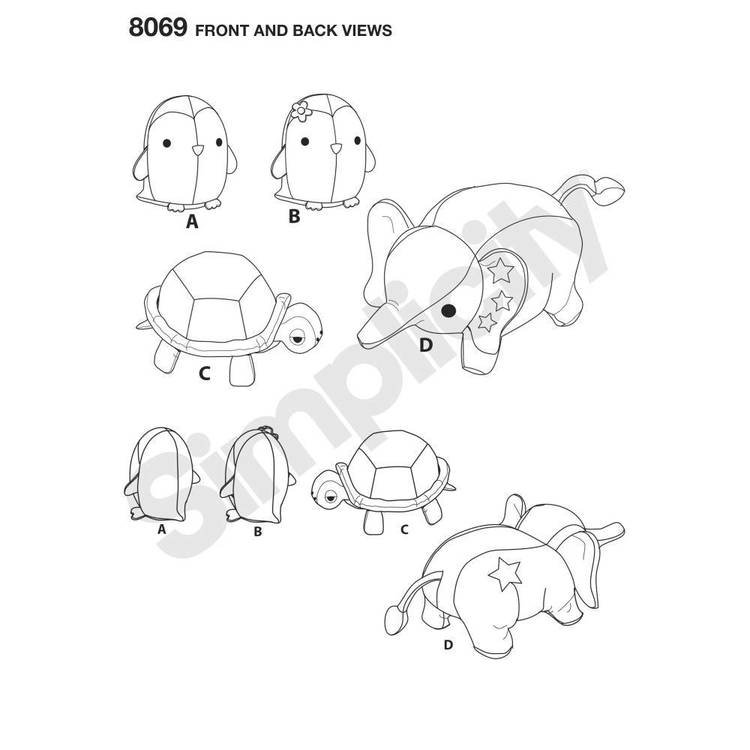 Simplicity Pattern 8069 Stuffed Penguins