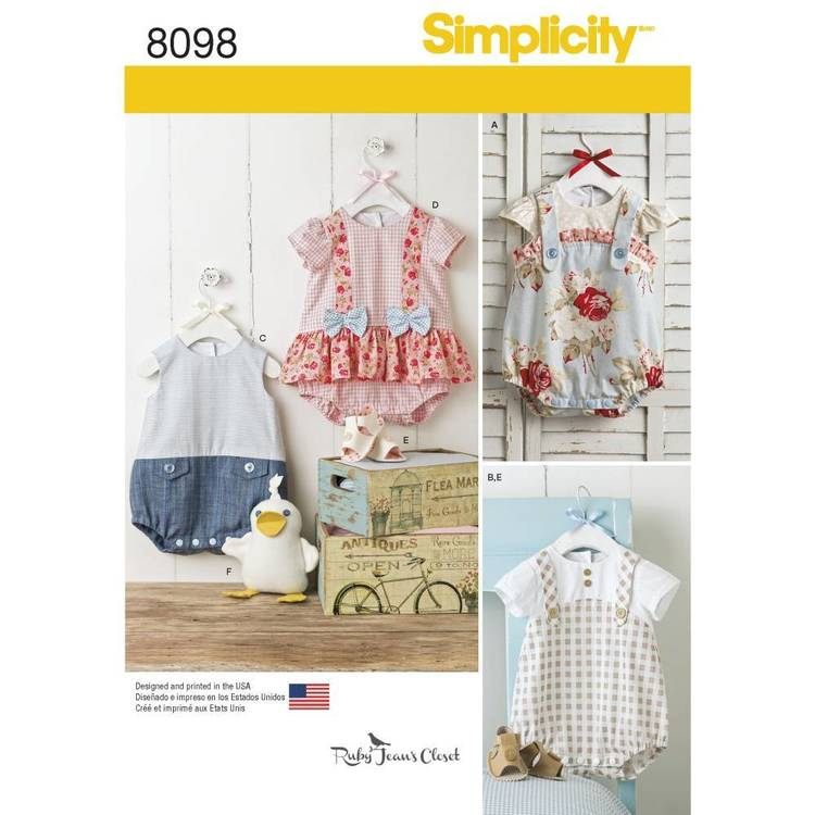 Simplicity Pattern 8098 Babies' Rompers