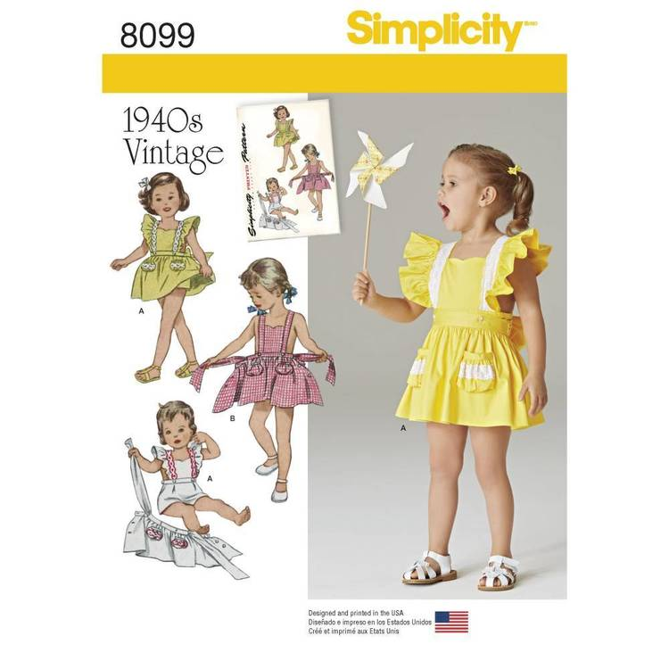 Simplicity Pattern 8099 Toddlers' Romper & Button-on Skirt