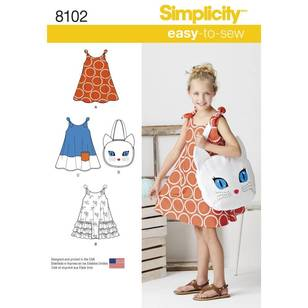 Simplicity Pattern 8102 Child's Easy-to-Sew Sundress & Kitty Tote