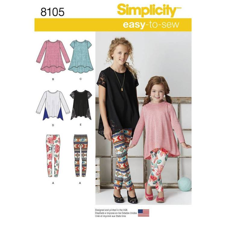 Simplicity Pattern 8105 Child's & Girls' Knit Tunics & Leggings