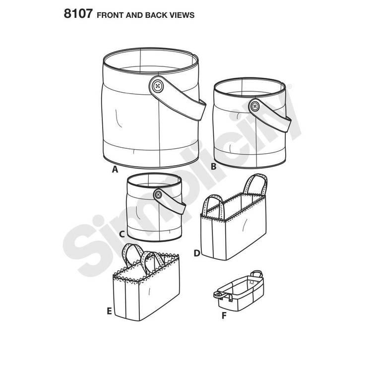 Simplicity 8107 Bucket, Basket & Tote Organizers
