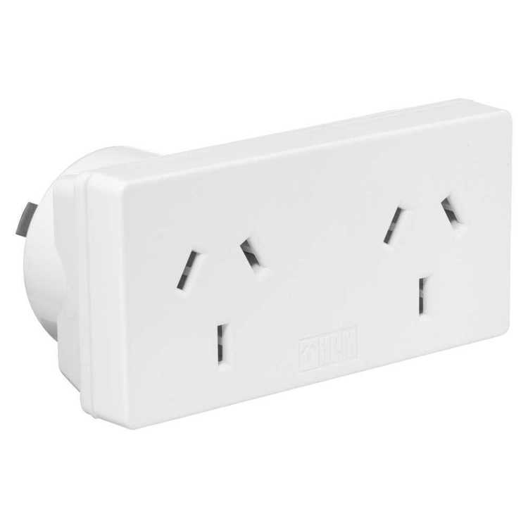 HPM D2/2WE Twin Pack Double Adaptor White