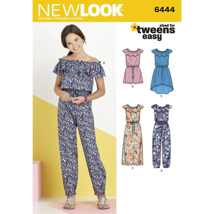 New Look Pattern 6444 Girl's Dress & Jumpsuit in Two Lengths