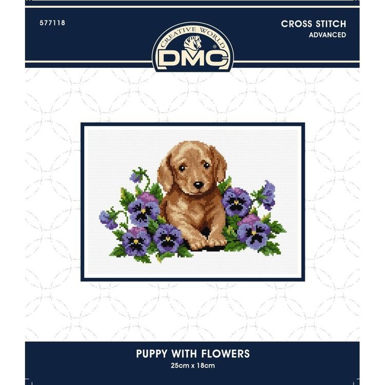 DMC By Leuts X-Stitch Puppy With Flowers