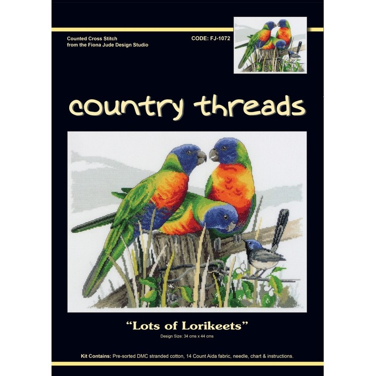Country Threads Lots Of Lorikeets Cross Stitch