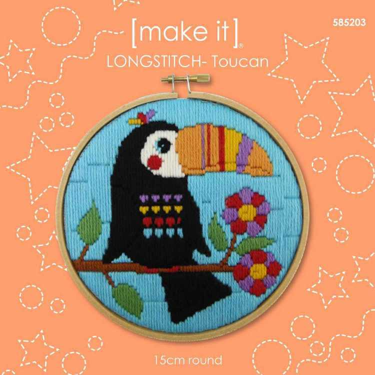 Make It Long Stitch Toucan Hoop Kit