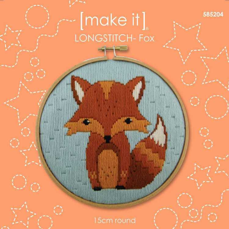 Make It Long Stitch Fox Hoop Kit Multicoloured 6 in